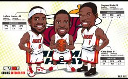 Miami Heat Big 3 Drawn Widescreen