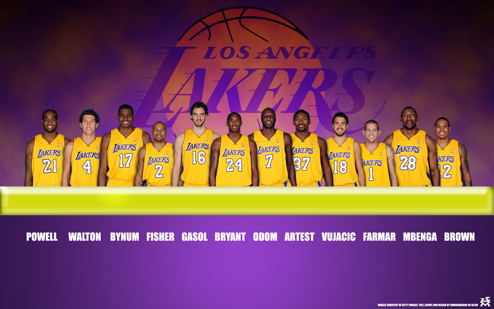 LA Lakers 2010 Roster Widescreen